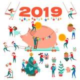 New Year. 2019. Big Pig. Christmas tree. Little men. Christmas background. royalty free illustration