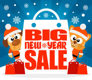 New Year Big sale background with animal vector Royalty Free Stock Photos