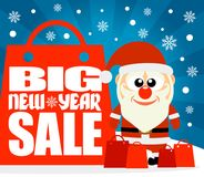 New Year Big sale background with funny Santa Claus Stock Photos