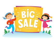 New Year Big sale background with kids .Vector illustration Royalty Free Stock Images
