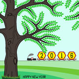 New year 2016 billboard on train. New year 2016 billboard in a retro freight train on green countryside with happy new year message. Can be used to signify end stock illustration