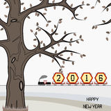 New year 2016 billboard on train in winter. New year 2016 billboard in a retro freight train on countryside with happy new year message. Winter season is royalty free illustration