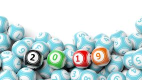 New year 2019 on bingo balls. Bingo lottery balls heap on white background, copy space. 3d illustration. New year 2019 digits on bingo balls. Bingo lottery balls Stock Image