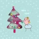 New year and bird. Cute bird decorates a Christmas tree. illustration stock illustration