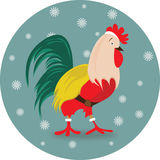 New Year bird symbol design. Rooster portrait cartoon illustration. Holiday card design element. Merry Christmas, happy New Year memory card, advertisement vector illustration