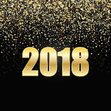2018 New Year Black background with gold glitter confetti. Festive premium design template for holiday greeting card Royalty Free Stock Image