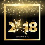 New year black background with gold hanging numbers royalty free stock images