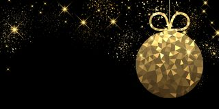 New Year background with Christmas ball. New Year black background with golden Christmas ball. Vector illustration Royalty Free Stock Image
