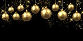 New Year background with Christmas balls. New Year black background with golden Christmas balls. Vector illustration Stock Images