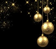 New Year background with Christmas balls. New Year black background with golden Christmas balls. Vector illustration Stock Photos