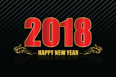 2018 new year black background, red color with golden border. Vector Eps 10 Stock Image