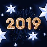 2019 New Year on the black background with white star and sign 2019 Christmas Cookies. Happy New Year card design. Vector illustration.Decoration of poster royalty free illustration