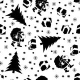 New Year black. Christmas pattern black and white with Santa Claus, Christmas trees, gifts and snowflakes. Happy New Year vector illustration