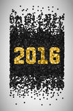 New Year 2016. Black and gold falling confetti. Happy card, merry glitter, celebration shine, vector illustration Stock Image