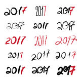 2017 New Year Black handwritten sign set on white background. 2017 New Year Black handwritten signs set on white background Royalty Free Stock Photo