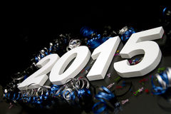 New year 2015 on black on slant. New year 2015 on black with blue and black ribbon on slant Stock Photo