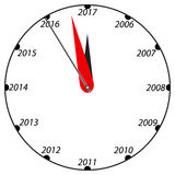 New Year black and white clock. Royalty Free Stock Images