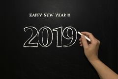 New year 2019 on the blackboard stock photo