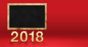 2018 new year  with blank blackboard at red studio backdrop,Holi. Day banner mock up design for display your content, Can use for adding goal list.3d rendering Stock Photography