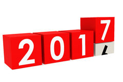 New year 2017 Blocks. In red, 3D rendering vector illustration