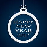 New Year Blue Background. Christmas Ball. 2017. Round Christmas Frame on Star Sky Night. Blue Abstract Background. Christmas Ball. Template Postcard Greeting Stock Images