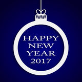 New Year Blue Background. Christmas Ball. 2017. Round Christmas Frame on Star Sky Night. Blue Abstract Background. Christmas Ball. Template Postcard Greeting Stock Photos