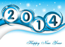 New year 2014 in blue background Royalty Free Stock Image