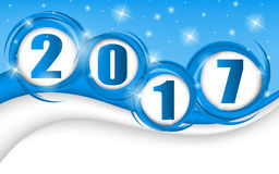 New year 2017 in blue background. Clip-art Stock Illustration