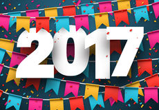 2017 new year blue background. 2017 year blue background with colour flags and confetti. Vector illustration Stock Photography