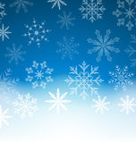 New Year blue background with snowflakes and copy space for your Stock Images