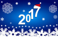 New Year 2017 on a blue background with snowflakes. Vector royalty free illustration