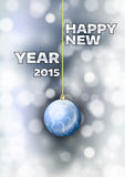 New Year 2015. With blue ball. Vector greeting card Royalty Free Stock Image