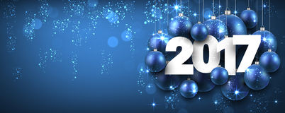 2017 New Year blue banner. 2017 New Year blue banner with Christmas balls. Vector illustration Royalty Free Stock Photos