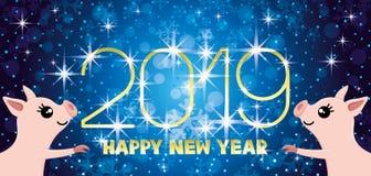 New year blue banner. New year blue banner 2019 with stars royalty free illustration