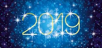 New year blue banner. New year blue banner 2019 with stars stock illustration