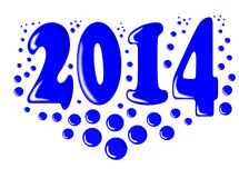 New year 2014 with blue bubbles. Stock Images