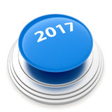 2017 New Year blue button isolated Royalty Free Stock Image