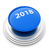 2018 New Year blue button isolated Royalty Free Stock Photo