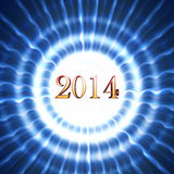 New year 2014 in blue circles with rays. Golden new year 2014 in shining white blue striped circles with rays Stock Photos