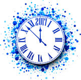2017 New Year blue clock background. 2017 New Year round clock with blue confetti. Vector illustration Stock Image