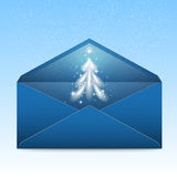 New Year blue envelope with stars and blizzard.  royalty free illustration