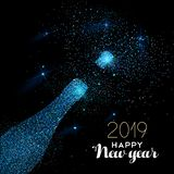 New Year 2019 blue glitter champagne bottle card stock illustration