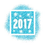 2016 new year. Blue glitter design of happy new year 2017 card Stock Photos