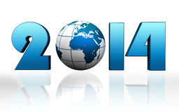 New year 2014 blue globe. On white background Royalty Free Stock Images