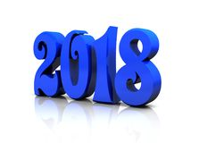 The new year - blue glossy 3D figures. The new year 2018 - blue glossy 3D figures Royalty Free Stock Photography