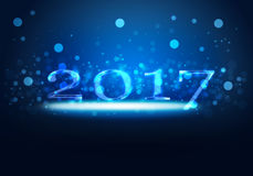 New Year 2017. Blue glowing neon light on New Year 2017 concept with gradient blue background Stock Image