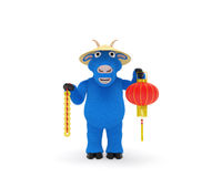 2015 New Year Blue goat. 2015 Сhinese New Year concept: blue goat (sheep) as symbol of incoming year in China (according east calendar) with traditional chinese Royalty Free Stock Photography