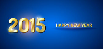 2015 New Year. Blue and gold greeting card for New Year 2015 Stock Photography