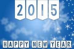 2015 New Year blue greeting banner background. Happy New Year 2015 greeting blue facebook background banner with white snowflakes and stars Stock Photo