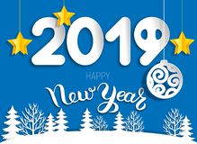 New year greeting card 2019 of cut paper layers Stock Illustration